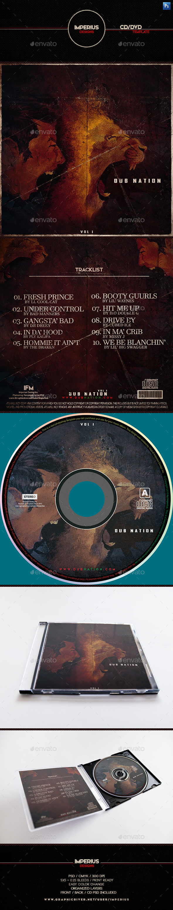 Dub Nation V1 CD/DVD Cover - CD & DVD Artwork Print Templates