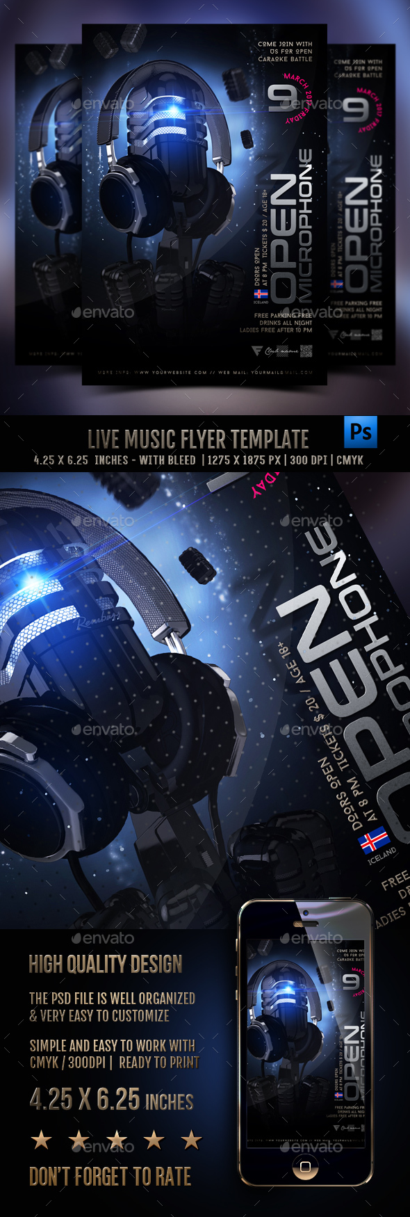 Live Music Flyer Template - Clubs & Parties Events