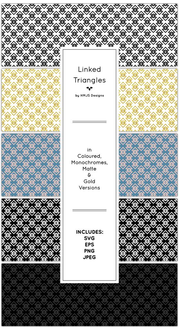 Linked Triangles Pattern Set - Textures / Fills / Patterns Illustrator