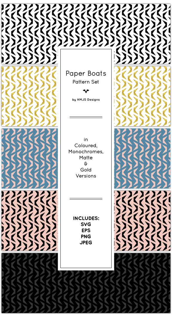Paper Boats Pattern Set - Textures / Fills / Patterns Illustrator