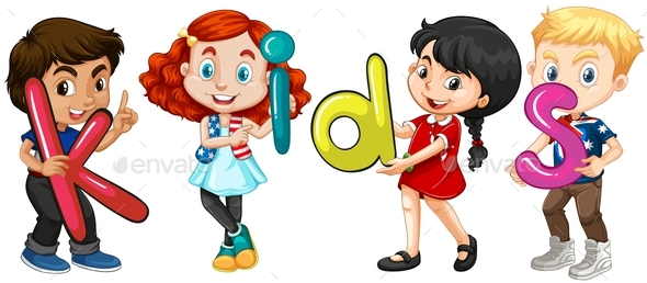 Boys and Girls Holding Alphabets - People Characters