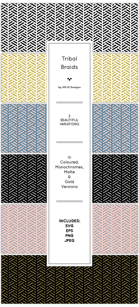Tribal Braid Pattern Set - Textures / Fills / Patterns Illustrator