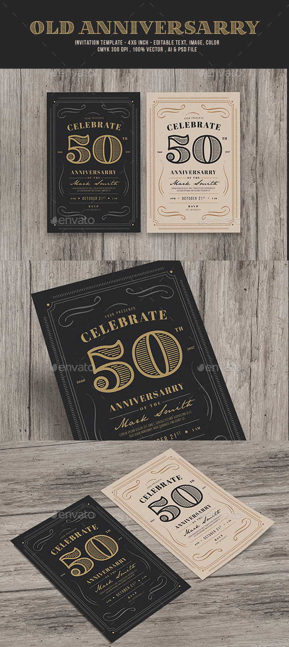 Vintage Anniversarry Invitation - Invitations Cards & Invites