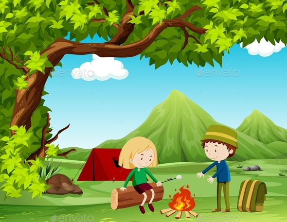 Boy and Girl Camping Out in the Field - People Characters