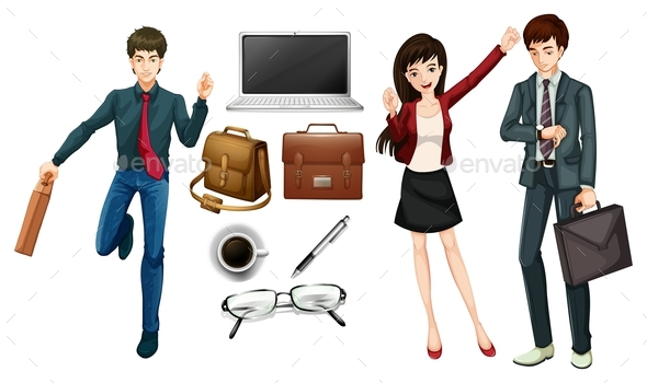 Business People and Personal Items - People Characters