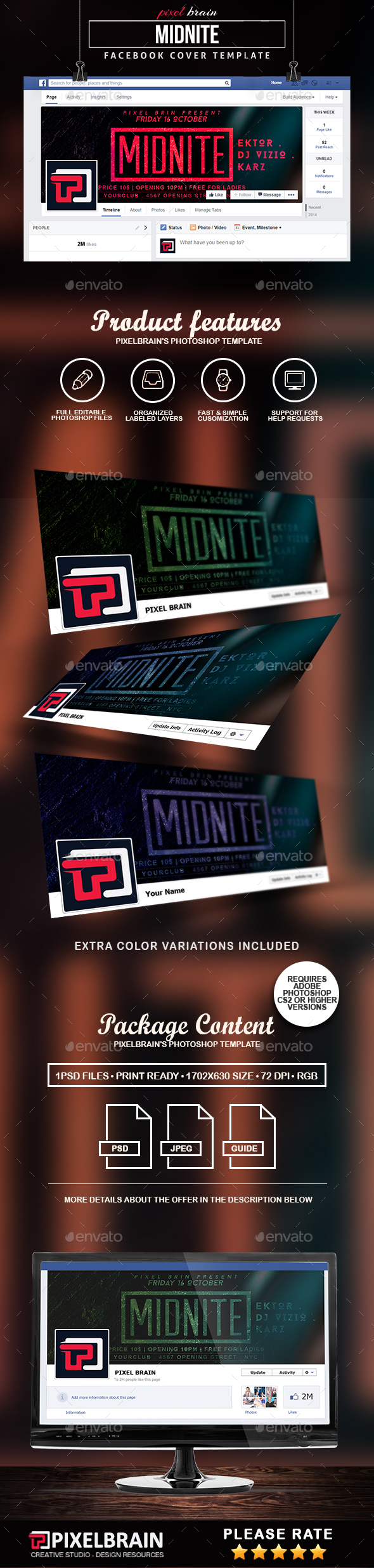 Midnite Facebook Cover Template - Facebook Timeline Covers Social Media