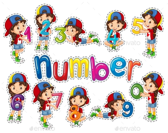 Sticker Set with Girl and Numbers - People Characters