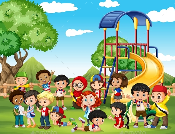 Children Playing in the Park - People Characters