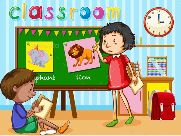 Boy and Girl in the Classroom - People Characters