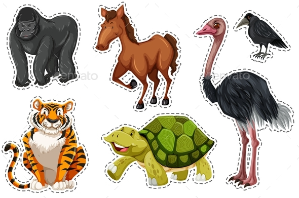 Sticker set with Different Wild Animals - Animals Characters