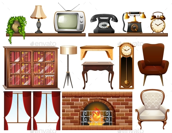Different Vintage Objects on White Background - Man-made Objects Objects
