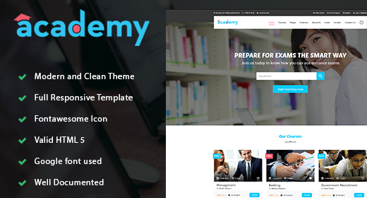 Academy - Education LMS Responsive Site Template