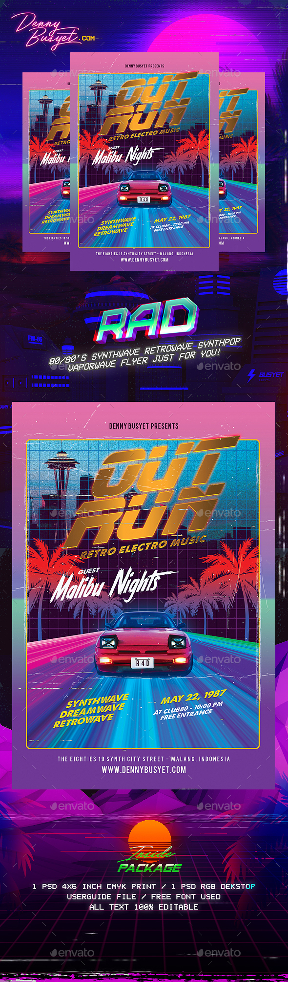 Out Run 80's Synthwave Flyer - Events Flyers