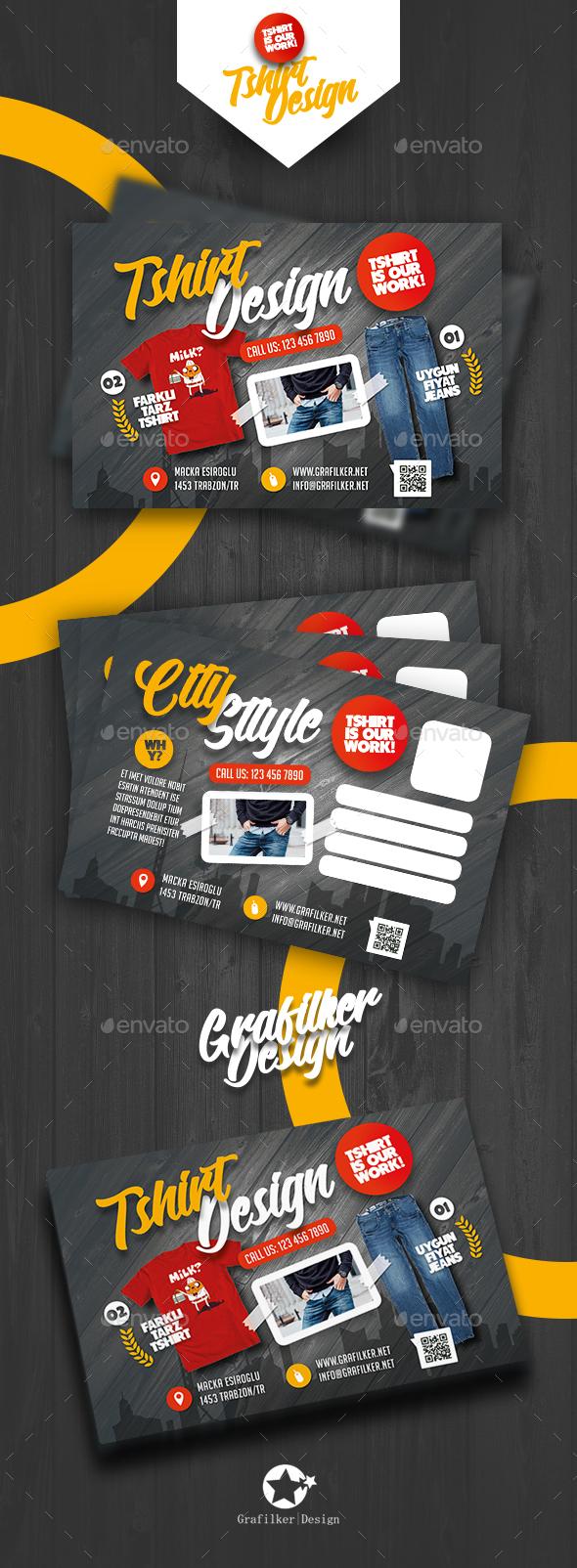 T-Shirt Shop Postcard Templates - Cards & Invites Print Templates