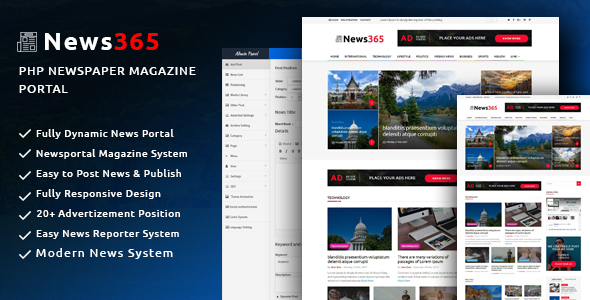 News365 – PHP Newspaper Script Magazine Blog with Video Newspaper - CodeCanyon Item for Sale