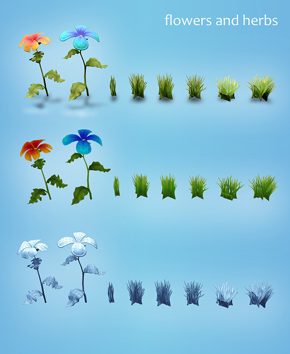 Low poly models of flowers and herbs - 3DOcean Item for Sale
