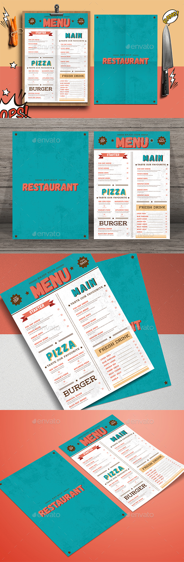 Retro Food Menu - Food Menus Print Templates