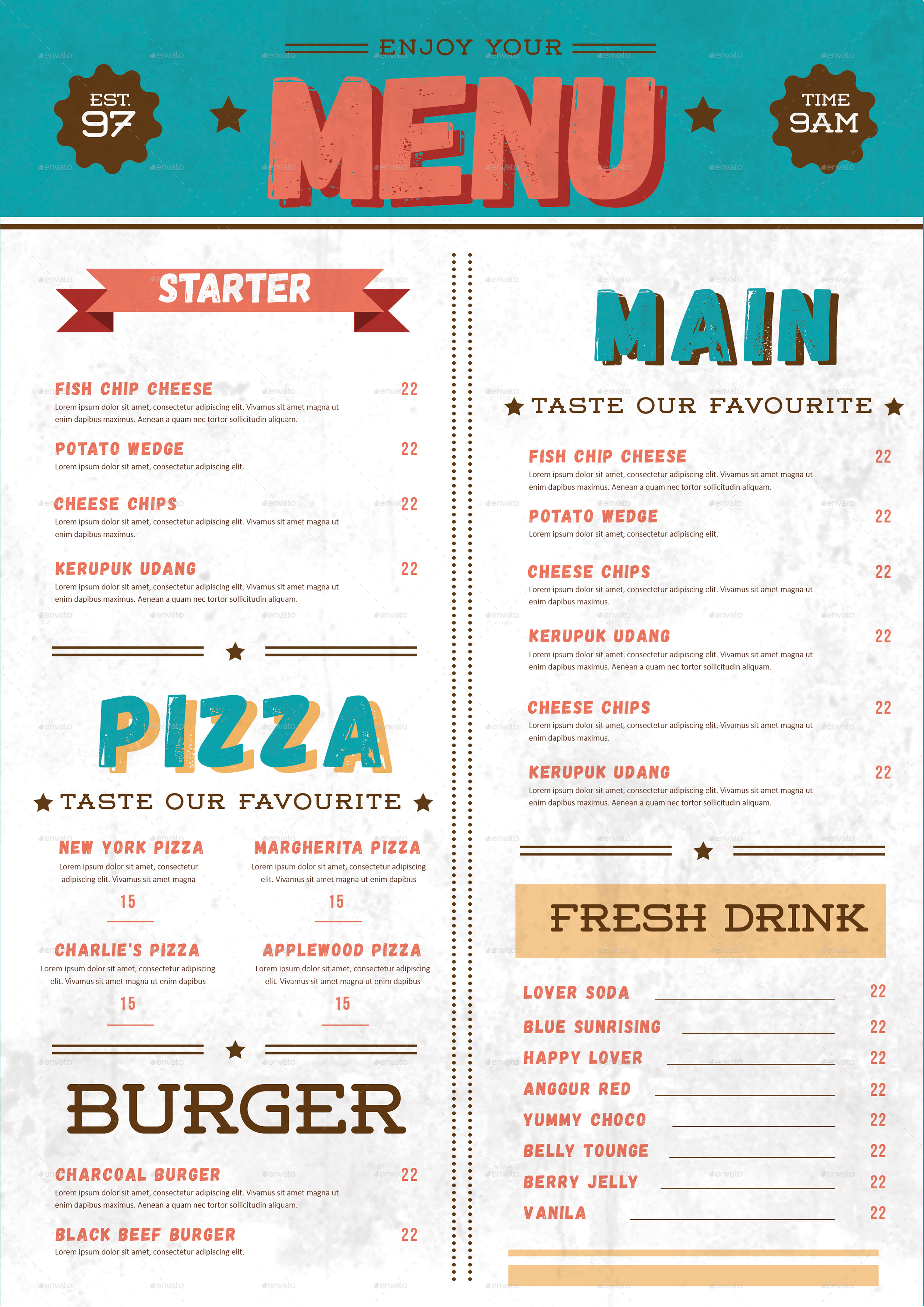 Retro Food Menu By Tokosatsu Graphicriver