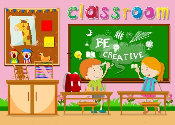 Children Studying in the Classroom - People Characters