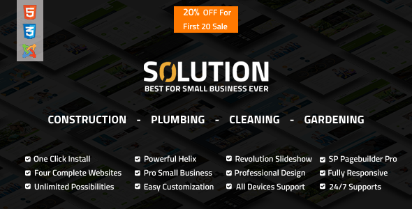 Solution - Multipurpose Small Business Joomla Theme - Joomla CMS Themes