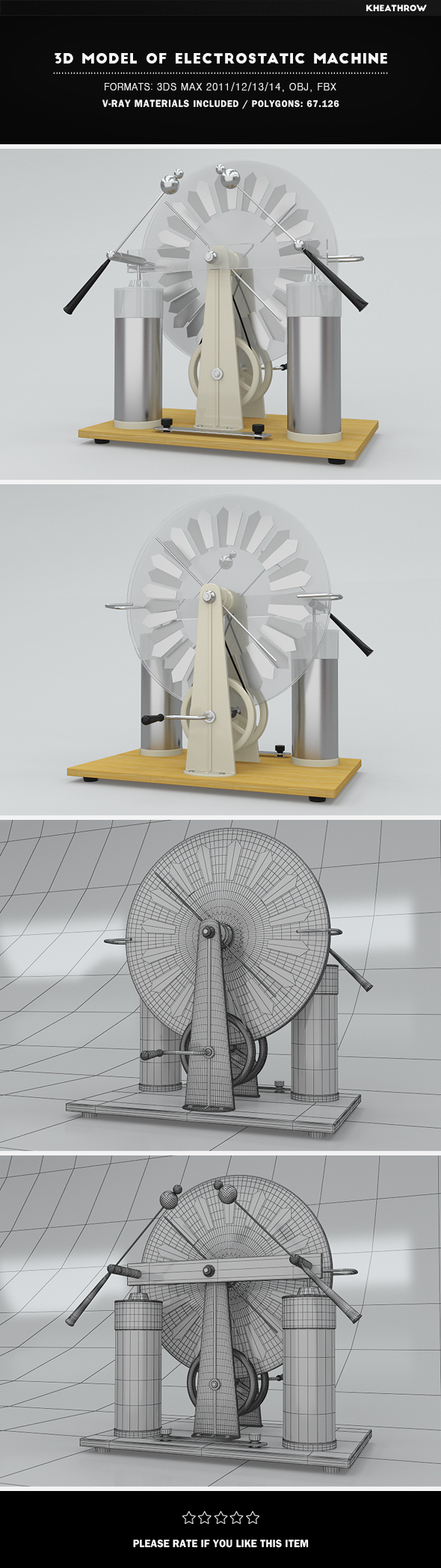 3d Model of Electrostatic Machine - 3DOcean Item for Sale