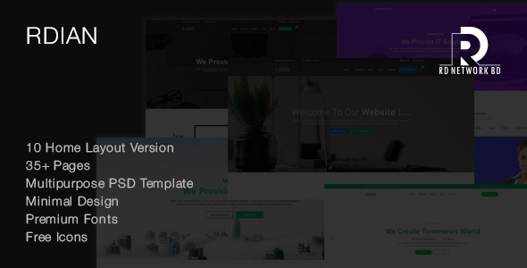 Rdian Corporate & Multipurpose PSD Template - Corporate PSD Templates