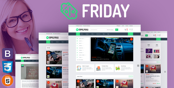 FRIDAY – Coupons, Deals, Discounts & Promo Codes Template RTL Supprt