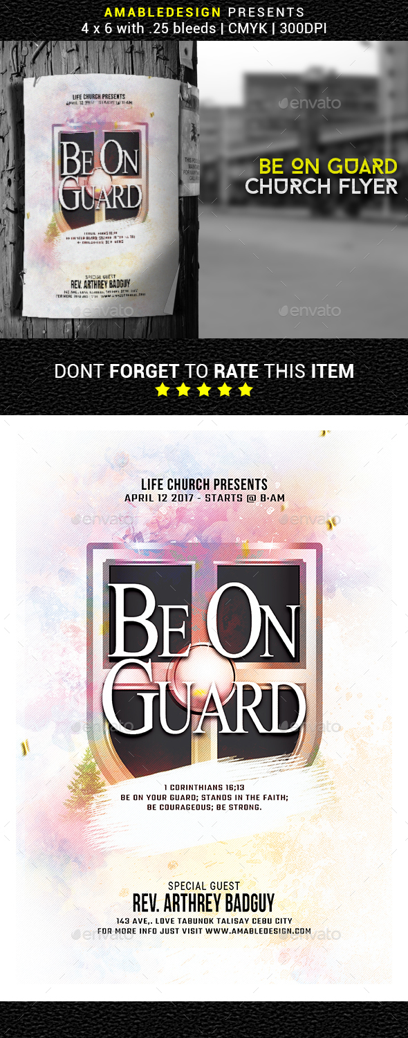 Be On Guard Church Flyer - Church Flyers