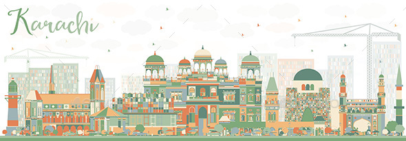 Abstract Karachi Skyline with Color Landmarks - Buildings Objects