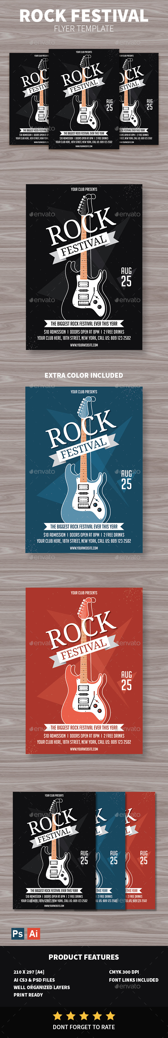 Rock Festival Flyer - Concerts Events