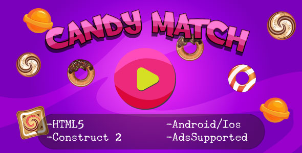 Candy Match (HTML5 Game + Construct 2 CAPX) - CodeCanyon Item for Sale