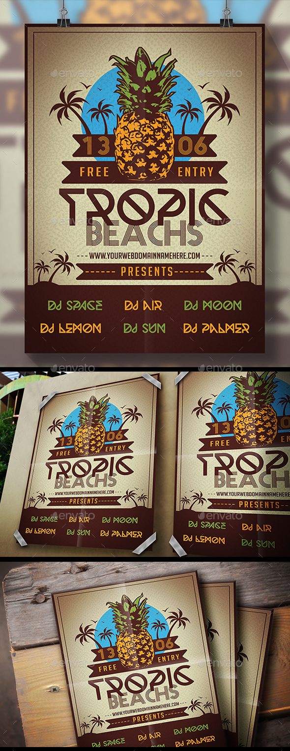 Pineapple Beach Flyer - Clubs & Parties Events