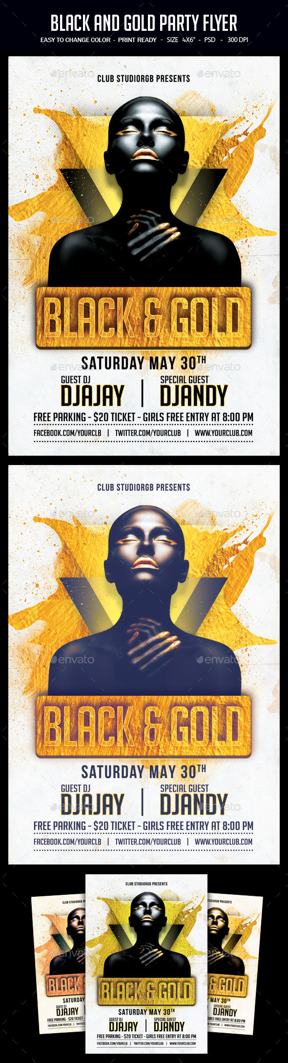 Black And Gold Party Flyer - Clubs & Parties Events