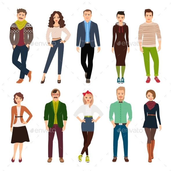 Cartoon Young Fashion People - People Characters