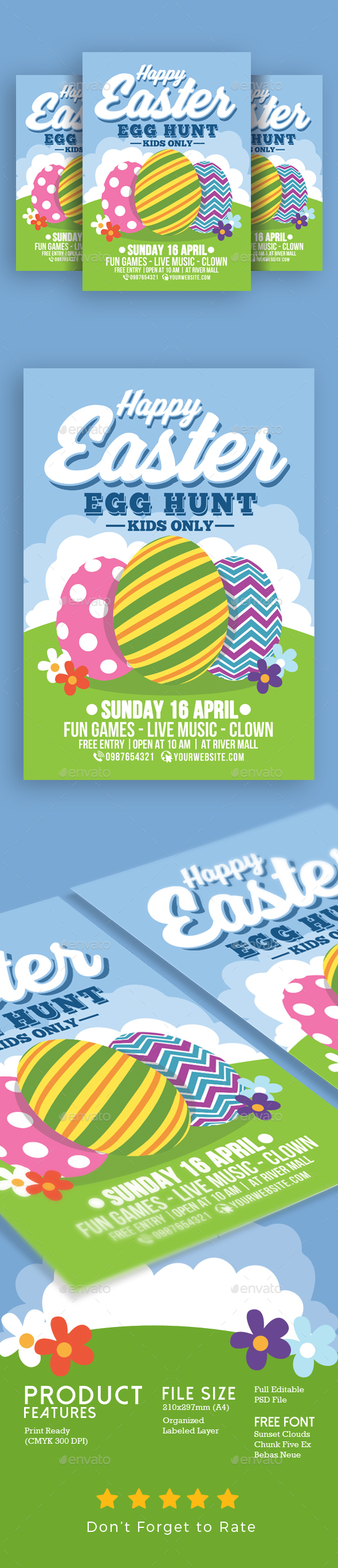 Happy Easter Egg Hunt For Kids - Events Flyers