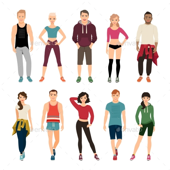 Yound People in Sport Outfits - People Characters