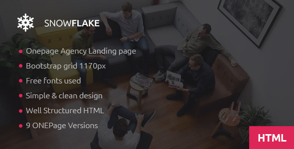 SNOWFLAKE | Onepage Agency HTML Template - Business Corporate