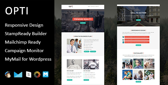 Opti – Multipurpose Responsive Email Template with Stampready Builder Access