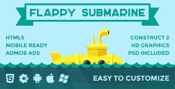 Flappy Submarine - HTML5 Arcade Game - CodeCanyon Item for Sale