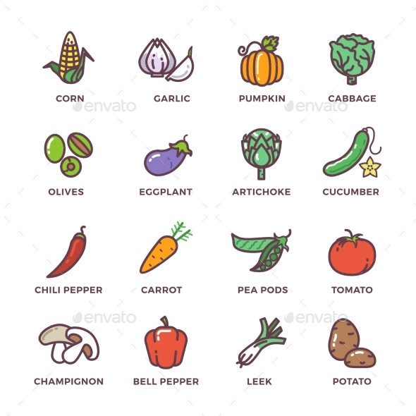 Vegetables Vegan Raw Food Colored Vector Icons Set - Food Objects