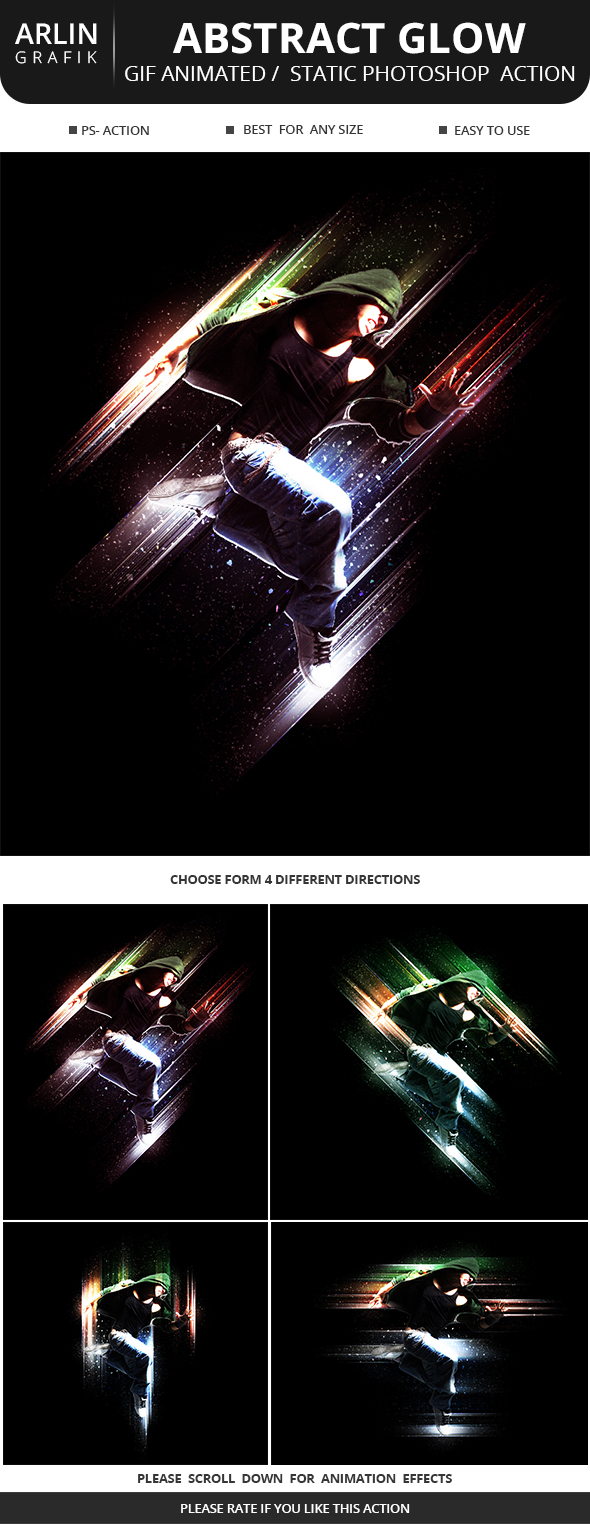 GIF Animated / Static Abstract Glow Photoshop Action - Photo Effects Actions