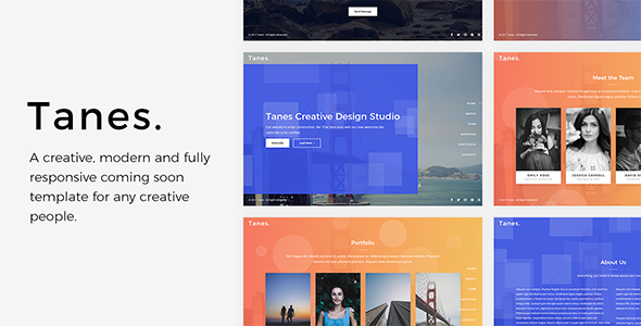 Tanes - Creative Coming Soon Template - Under Construction Specialty Pages