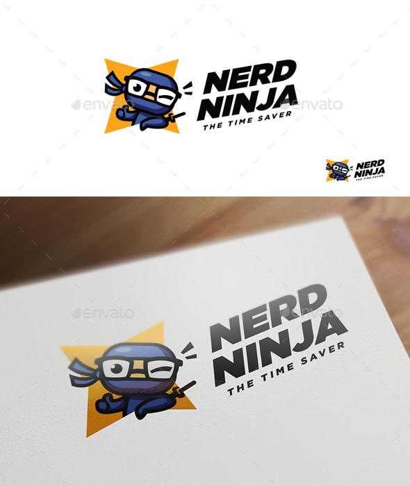 Nerd Ninja - Ninja Character Mascot Logo - Humans Logo Templates