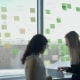 Two Business Women on Background of Window in Hall Discuss Topics