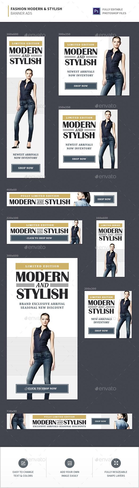 Fashion Stylish & Modern Banner Ads - Banners & Ads Web Elements