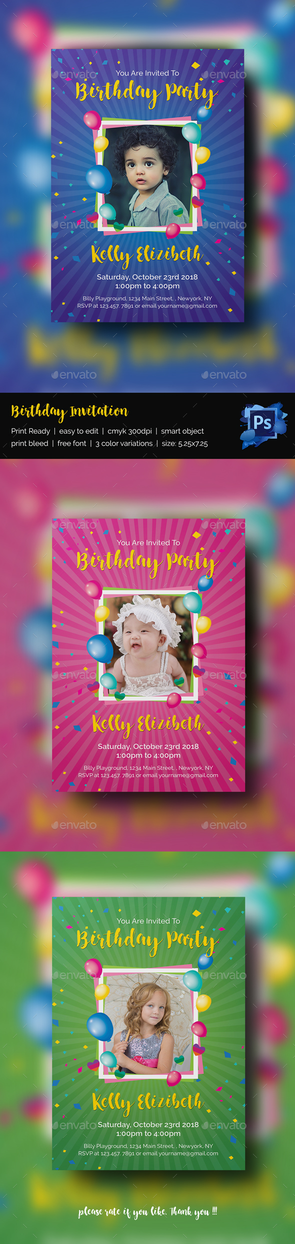Birthday Invitation - Print Templates