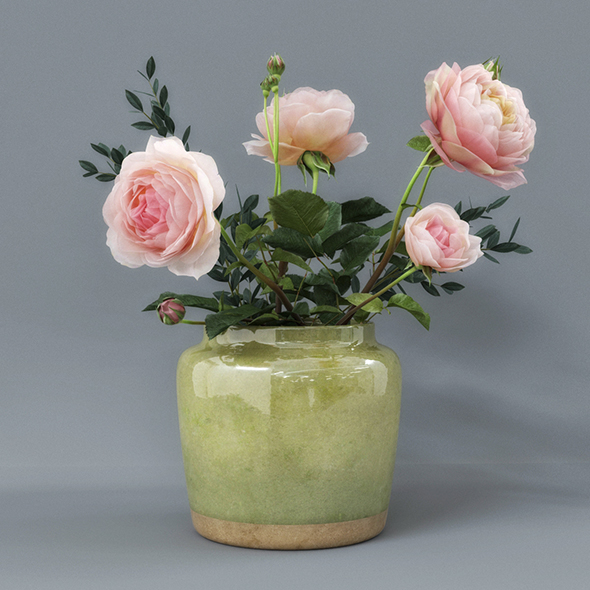 Rose Flower Pot - 3DOcean Item for Sale