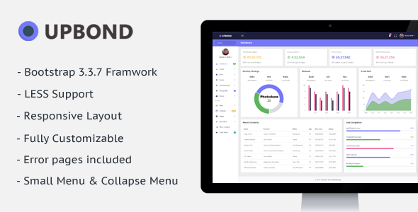 Upbond – Responsive Admin Dashboard Template