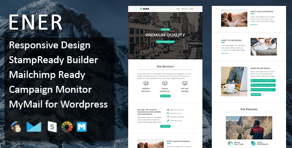 Ener – Multipurpose Responsive Email Template with Stamp Ready Builder Access