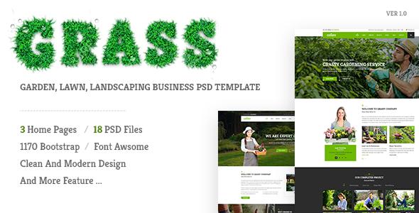 Grass – Garden, Lawn, Landscaping PSD Template